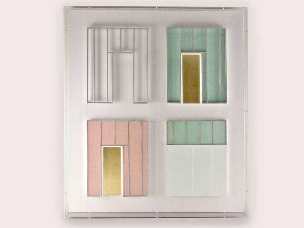 Eagles of Architecture, vier maquettes Maarschalk Gerardstraat 5, ingekaderd, 90x80x10cm